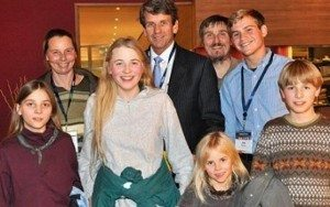 Dirk and Petra Wunderlich and their four children, in 2012 with Mike Farris of the Home School Legal Defense Association